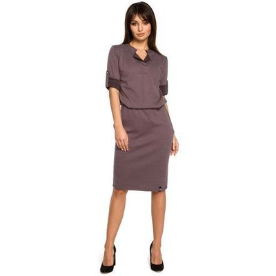 85246c1492 Brązowa sukienka w sportowym stylu z niską stójką marki Moe MOLLY