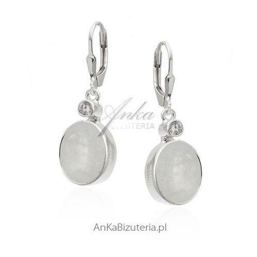 Kolczyki srebrne z kamieniem księżycowym i cyrkonią, kolor szary