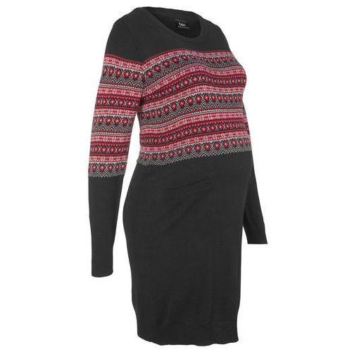 Sukienka dzianinowa ciążowa bonprix czarny wzorzysty
