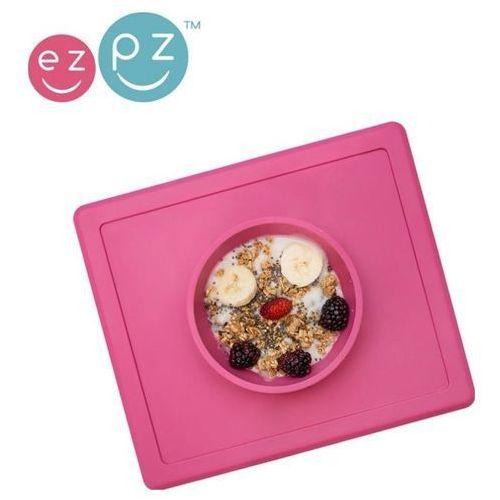 Silikonowa miseczka z podkładką 2w1 happy bowl - różowa Ezpz