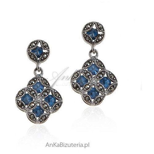 Kolczyki srebrne z markazytami i niebieskimi cyrkoniami Anka biżuteria