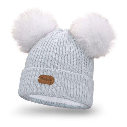 Zimowa czapka dziewczęca - lodowy - lodowy marki Pamami
