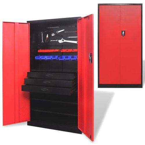 Vidaxl metalowa szafka na narzędzia z wyjmowaną skrzynią, czarno-czerwona (8718475956389)