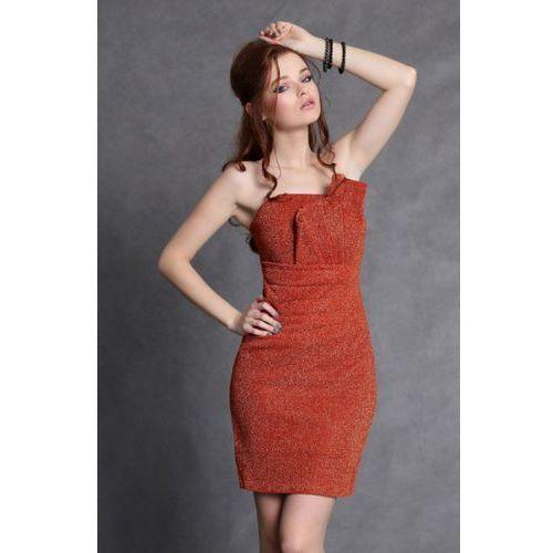 4102-2 Sukienka ze świecącego kreszu z zakładkami na biuście z podszewką - pomarańczowy, kolor pomarańczowy