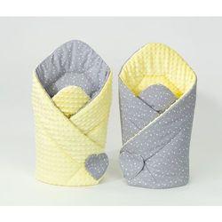 Mamo-tato rożek niemowlęcy dwustronny minky mini gwiazdki białe na szarym / żółty