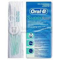 Oral-b superfloss 60cm x 50szt. - nić dentystyczna z cienką gąbką czyszczącą do mostów, aparatów