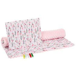 komplet minky różowy w jamniki kocyk i poduszka marki Bocioland