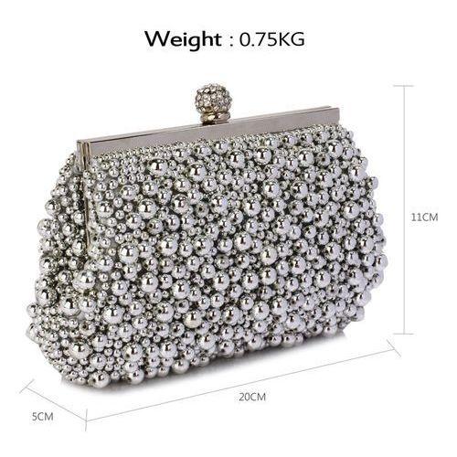 6b42712e57987 Zmysłowa srebrna torebka wizytowa z koralików - srebrny (Wielka ...