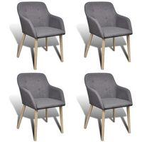 Vidaxl dębowy zestaw ciemnoszarych krzeseł 4 szt. z podłokietnikami