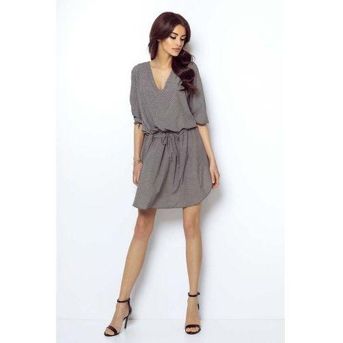 2d23e981cdffdb Wzorzysta Zwiewna Sukienka Wiązana w Pasie, w 4 rozmiarach - Fotografia  produktu