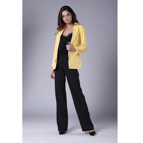 655112330a913 Zobacz ofertę Żółty Elegancki Klasyczny Żakiet bez Zapięcia, w 6 rozmiarach