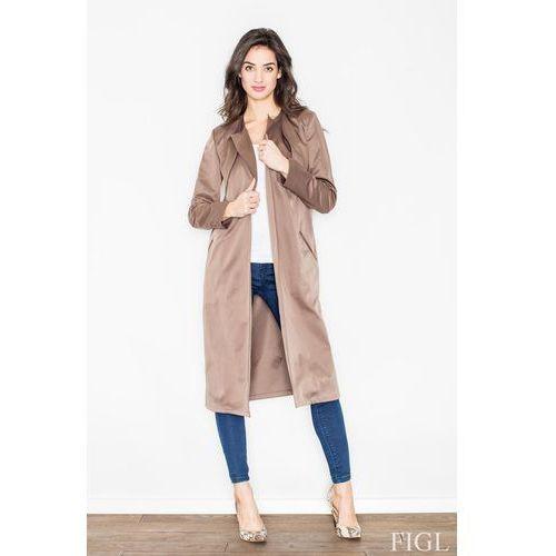 Brązowy płaszcz typu trencz bez zapięcia z wiązanym paskiem, 1 rozmiar