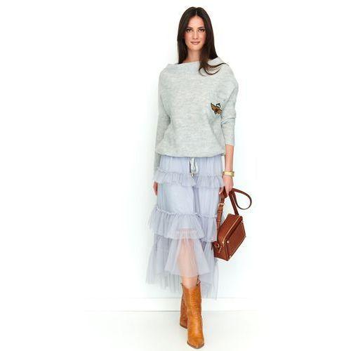 Szara tiulowa asymetryczna spódnica maxi z falbankami marki Makadamia