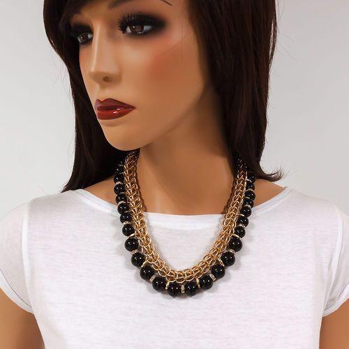 Naszyjnik full of pearls black - black Miss glow