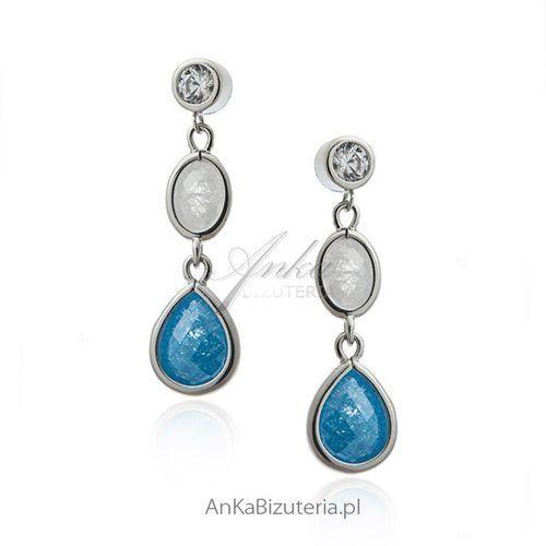 Kolczyki srebrne z niebieską i białą cyrkonią, kolor niebieski