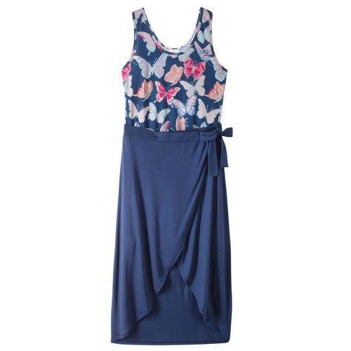 Letnia sukienka z długą spódnicą kobaltowy z nadrukiem marki Bonprix
