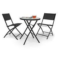 Blumfeldt  before sunrise 3-częściowy zestaw mebli bistro textilene stól 2 krzesła czarny