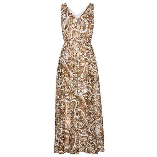 Długa sukienka z nadrukiem bonprix biel wełny - złoty, kolor biały