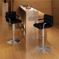 Vidaxl 240463 2 x stołek barowy czarny z podłokietnikiem (8718475848691)