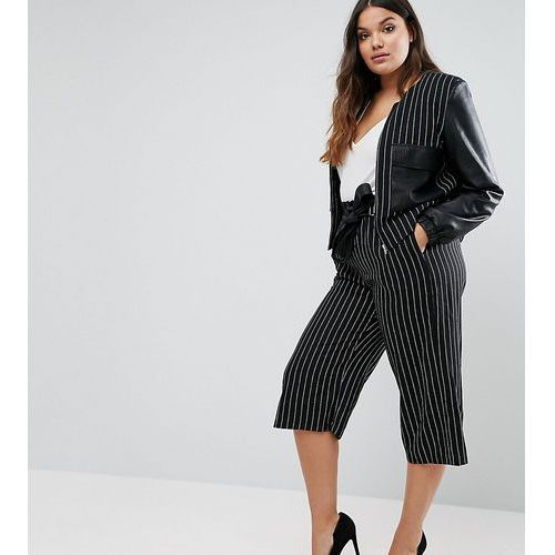 Pinstripe culottes with leather look belt - navy Elvi