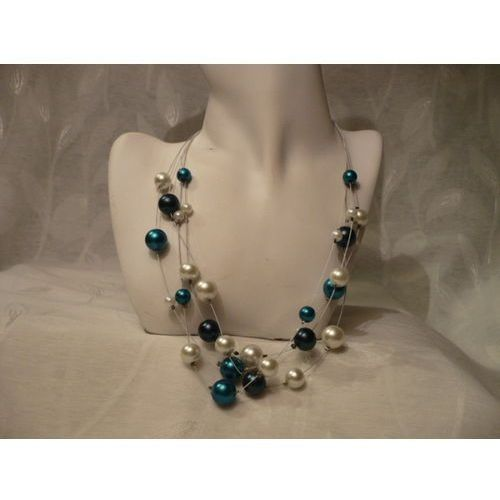 N-00040 Naszyjnik z perełek szklanych, turkusowych, białych i granatowych, kolor niebieski