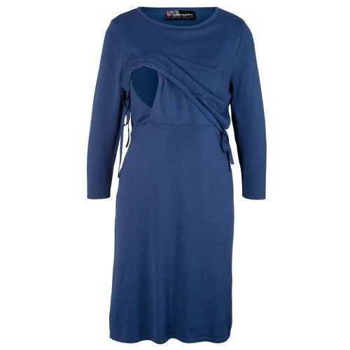 Sukienka dzianinowa ciążowa i do karmienia bonprix kobaltowy, w 4 rozmiarach