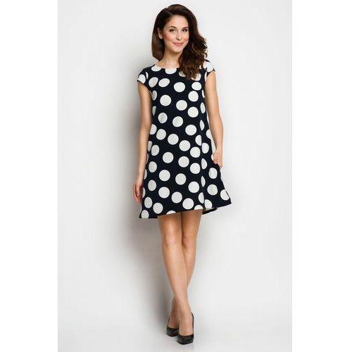 9ee35387d3 Awama Granatowa Trapezowa Sukienka Letnia w Duże Grochy