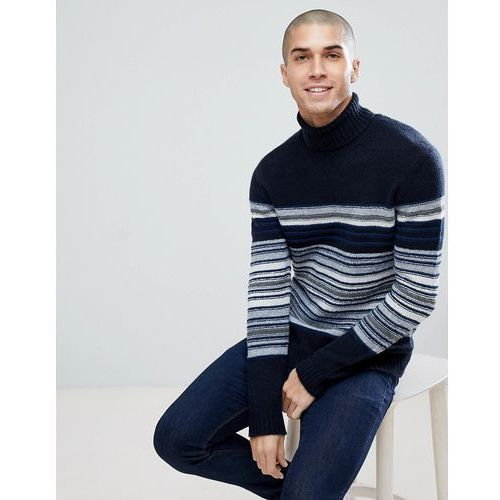 Wool mix roll neck jumper with multi stripe - navy, United colors of benetton, 34-40