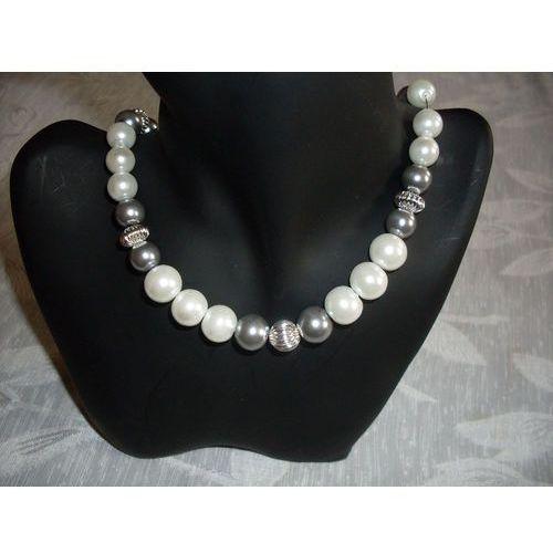N-00034 Naszyjnik z perełek szklanych, popielatych i białych, kolor biały