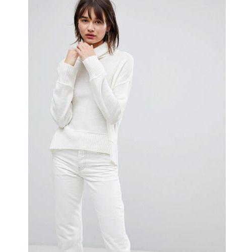 H.One Relaxed High Neck Wool Blend Jumper - White
