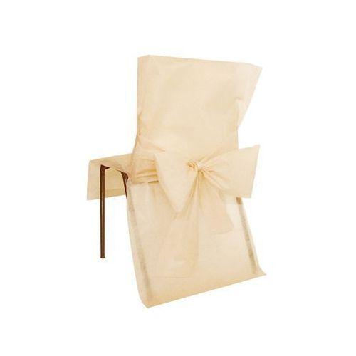 San Pokrowiec na krzesło z kokardą - kość słoniowa - ślub - 1 szt.