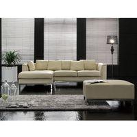 Sofa narożna P - skórzana - beżowa - sofa z pufą - kanapa OSLO