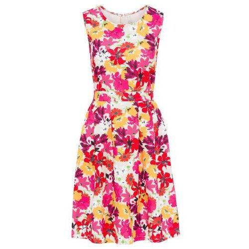 Sukienka w kwiatowy deseń bonprix piaskowy w kwiaty, w 8 rozmiarach
