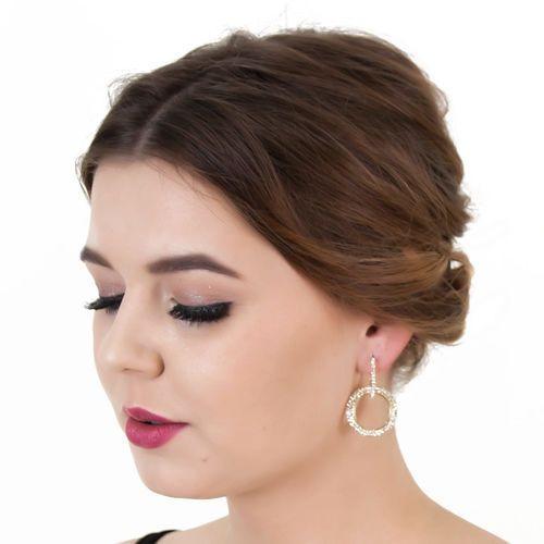 Kolczyki okrągłe koła cyrkonia złote eleganckie - złote marki Miss glow