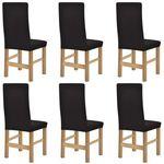 vidaXL Elastyczne pokrowce na krzesła, 6 szt, brązowe