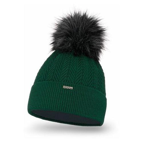 Zimowa czapka damska PaMaMi - Butelkowa zieleń, kolor zielony