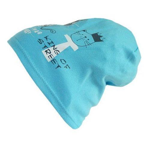 Polska czapka dziecięca bawełna kotki beanie krasnal smerfetka niebieska - cd05-1 marki Tara