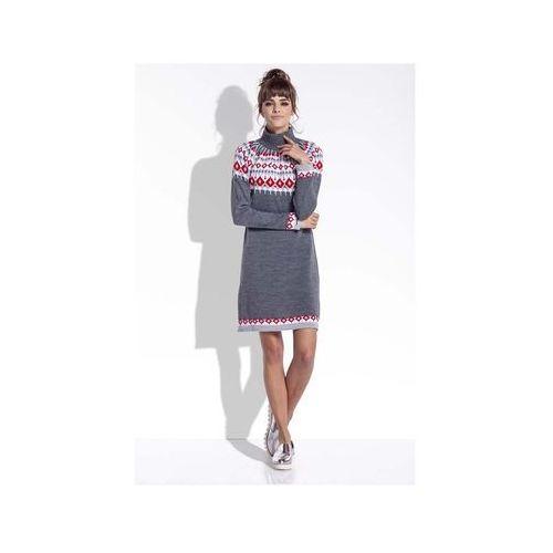 5a75219a1e Grafitowa ciepła sukienka z golfem w norweskie wzory