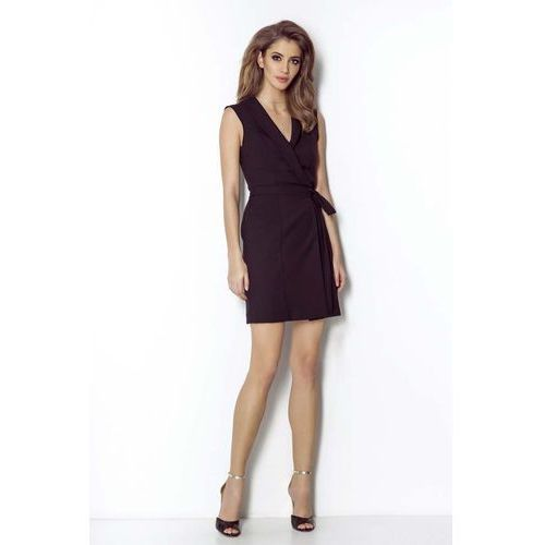 273e0ede87 Czarna kopertowa sukienka z szalowym kołnierzem (Wow Point) - sklep ...