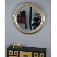 Lustro okrągłe, kolor srebrno- złoty, rama drewniana.