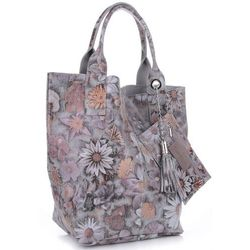 VITTORIA GOTTI Made in Italy Torebka Skórzana Shopper Bag Kwiaty Multikolor - Szara (kolory)