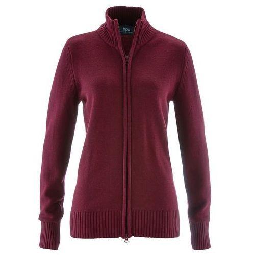 Bonprix Sweter rozpinany czerwony klonowy