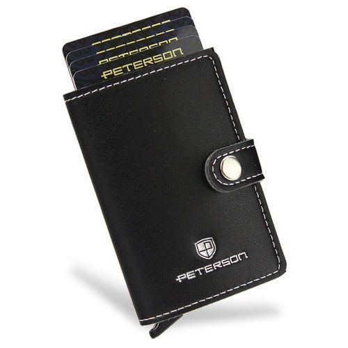 etui na karty automatyczne aluminiowe mały portfel slim rfid stop hit nowość - czarny marki Peterson