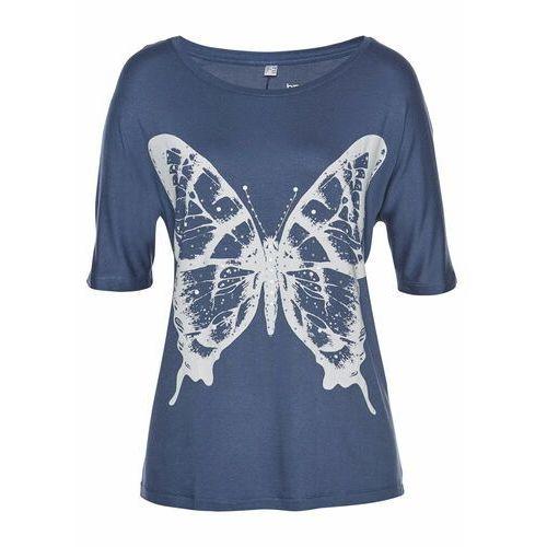 T-shirt z połyskującymi kamieniami bonprix indygo - biało-srebrny, kolor niebieski