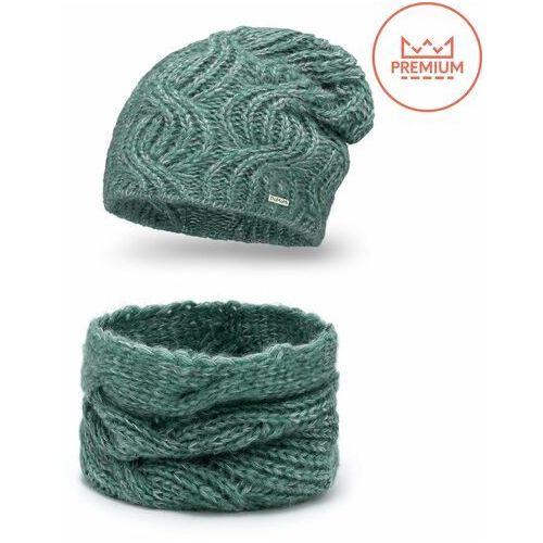Ciepły komplet damski - czapka i szal - zielony marki Pamami