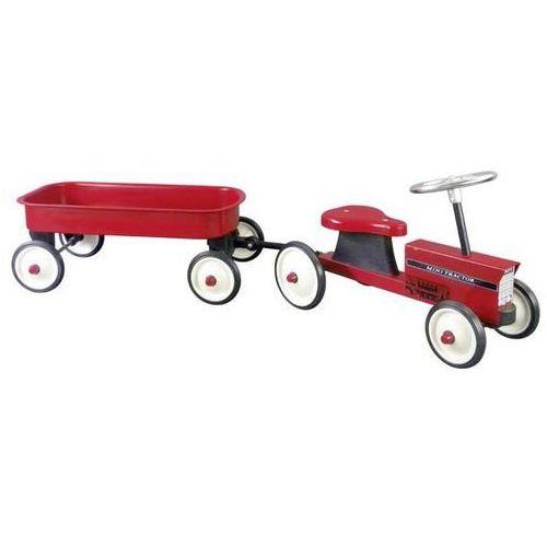 Goki Traktor dla dzieci metalowy z przyczepką