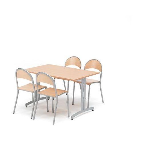 Zestaw do stołówki sanna+tampa, stół i 4 krzesła, buk/aluminium marki Aj produkty