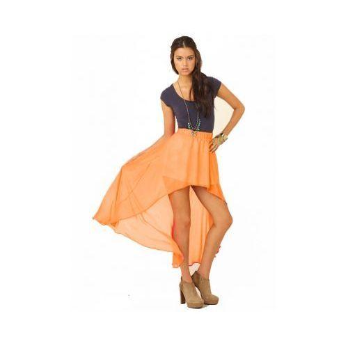 Skopanie Zwiewna maxi spódnica asymetryczna szyfon pomarańcz