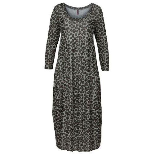 Bonprix Długa sukienka shirtowa szary leo