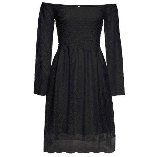 """Sukienka koronkowa z dekoltem """"carmen"""" bonprix czarny"""